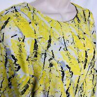 WAREHOUSE Yellow Black White Grey Graffiti Print Dress Size 6 UK