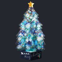 Blue Crystal 3D Christmas Tree Pop Up Greeting Card / Christmas card