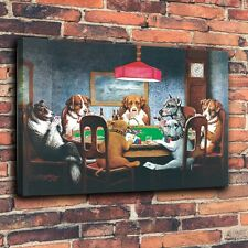 Art Print Oil Painting on Canvas Home Wall Decor - Dogs Playing Poker  #360