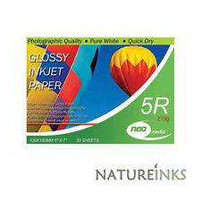 90 sheets x Neo 5R 210gsm Gloss 5 x 7 photo inkjet Quick Dry Paper 130mm x 180mm