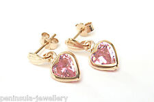 9ct Gold Pink CZ Heart Drop earrings Gift Boxed Made in UK