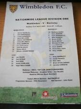 21/04/2002 Colour Teamsheet: Wimbledon v Barnsley (Folded, Writing On Back). No