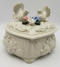 """Ornate Trinket/Jewelry Box """"Doves and Roses"""" with Gold Trim"""
