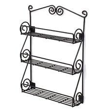 Spice Rack 3 Shelf Wall-Mountable Black Scroll, Metal Nail Polish Display Holder