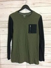Kids Mossimo Army Green Black color block long sleeve shirt Sz XL 16