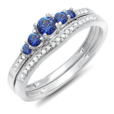 10K White Gold Blue Sapphire & Diamond Ladies Engagement Ring Set (Size 6)