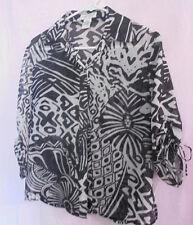 Draper's & Damon's Button-shirt/ Blouse Black and White Size PS Sleeves w/ties