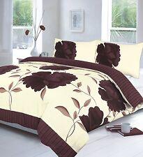 Modern Duvet Cover & Pillow Case Bedding Set ROSALEEN CHOCOLATE -Size Double