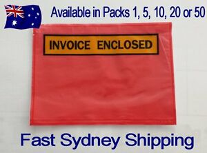 LARGE A5 230 x 165mm RED INVOICE ENCLOSED Envelope Document Sticker Pouch