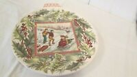 Spode Christmas Ornament Plate First Issue Sledding England 8 1/2 Victorian