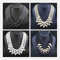 Crystal Chunky Statement Bib Pendant Chain Choker Necklace Women Trendy Jewelry