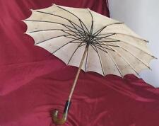 1950s Vintage Child Cotton Sun Umbrella w/Celluloid Handle