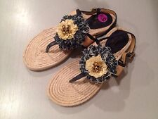 Coach Sandals Tegan Flat Flip Flop Flower Blue Denim Natural Espadrille 8.5 New