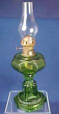 Miniature Findlay Glass Green Crown Pattern Kerosene Lamp Ohio Dalzell Gilmore