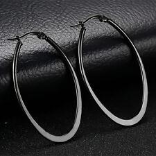 Unique Black Stainless Steel Big Oval Hoop Earrings Women's Jewelry Anti-allergy