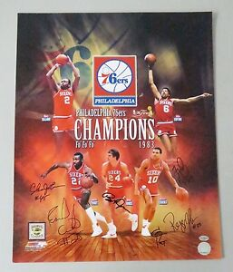 123001 1983-84 NBA Champs 76ers Multi Signed 16x20 Photo 5 AUTO 's LEAF COA