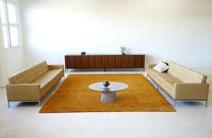 Set of 2 Florence Knoll International 4-Sitzer Sofa Leder