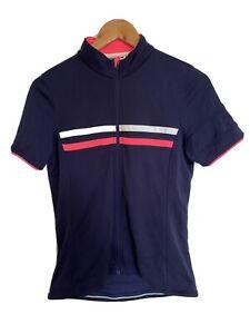 Rapha Women's Short Sleeve Brevet Cycling Jersey Size Large Merino Wool Navy Top