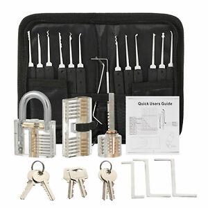 17Pcs Training Set Transparent Lock Practical Unlocking Tools Locksmith Locks