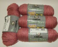 Lot of 3 & 3/4 Skeins Caron Simply Soft Yarn Autumn Heather Rose Pink