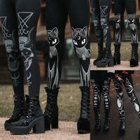 Fashion Women Gothic Style Stretch Skinny Leggings Goth Sneaker Print Tight Pant