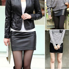 Women Pencil Bodycon High Waist Mini Dress Solid Color Sexy Black PU Leather AU