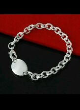 tag & Chain Bracelet Bangle 925 Stamped Silver birthday lady men valentine gift