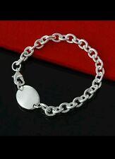 tag & Chain Bracelet Bangle 925 Stamped Silver birthday lady men valentine gift
