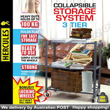 Pop -It 3-Tier Collapsible Storage Shelf with loocking Wheels Purpose Steel
