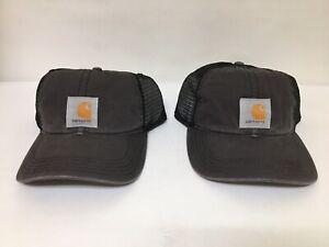 Lot of (2) Carhartt Men's Adjustable Buffalo Cap Charcoal/Black