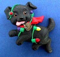 Hallmark PIN Christmas Vintage DOG PUPPY LOVE Black LABRADOR Holiday Brooch