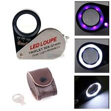 Mini 30x 21mm Glass LED & UV Magnifier Jeweler Eye Jewelry Loupe Loop Triplet