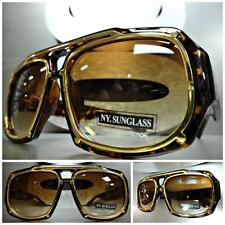 Men CLASSIC VINTAGE RETRO HIP HOP Style SUN GLASSES SHADES Tortoise & Gold Frame