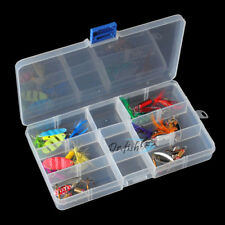 Fishing Tackle Box Loaded 12 Spinner Rooster Tail Bass Trout Lures Lot Mixed