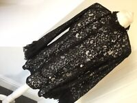 Zara Black High Neck Boho Lace Detail Victoriana Blouse Fabulous Blogger Sz S