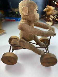 Steiff Antique Vintage Jocko Monkey On Bike  Pull Toy Wheels Glass Eyes