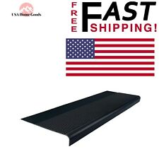 Black Rubber Round Nose Stair Tread (12 1/4 x 36 in.) High Traffic Protector