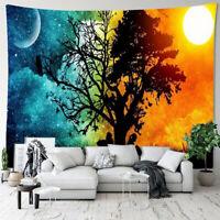 LN_ WO_ KE_ AB_ Tree Moon Star Night Sun Day Printed Wall Hanging Tapestry Bla