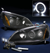 2001 2002 2003 HONDA CIVIC 2/4DR HALO BLACK PROJECTOR HEAD LIGHT W/DRL+6000K HID
