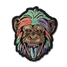Embroidered Party Animal Colour Monkey Sew or Iron on Patch Biker Patch