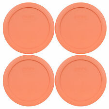 """Pyrex 7201-PC 6"""" Bahama Sunset Orange 4 Pack Storage Cover Lid for 4 Cup Bowl"""
