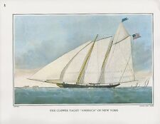 "1972 Vintage Currier & Ives YACHTING ""CLIPPER YACHT AMERICA NY"" COLOR Lithograph"