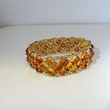 Chevron Ombre Citrine Diamond 14K Gold Tennis Cuff Bangle Bracelet Cabochon