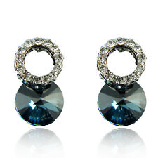 14k white Gold GF Austrian crystals blue brilliant cluster earrings