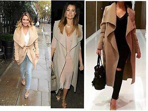 Womens ladies Long sleeve belted Trench drape waterfall Coat Jacket mac lot s13