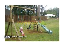 Double Swing and Slide Set Kit Wood Playground Backyard Kids DIY Starter Add On