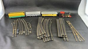 """Lot of Atlas HO Track, Switches, Engine, Cars , 18"""" Curve , 9"""" Straight"""