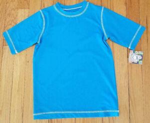 NWT Boys Blue (True Cyan) with White Stitching OP Rashguard Size 8