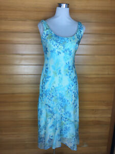 Rockmans Pretty Blue Floral Sleeveless Midi Cocktail/Formal Dress Size 8 EUC