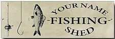 PERSONALIZED FISHING SHED METAL SIGN,TACKLE,GIFT,FISH,ROD,NOVEL